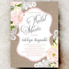 Coral Grey Burlap Lace Bridal Shower Invitation - Shabby chic bridal shower, cottage chic bridal shower