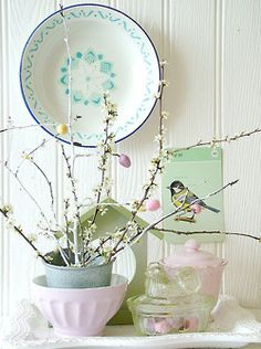 spring decor  Maybe put blue pillar candle in the white bowl?