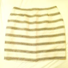 {Jcrew} Striped Silk blend mini ! Hello winter whites! Adorable striped skirt. Silk and linen blend with full polyester liner. Never worn. NWOT. Has pockets :). Perfect condition, perfect for holidays, work and casual. Can easily transition this piece for all seasons! No trades please. Retail not factory. J. Crew Skirts Mini