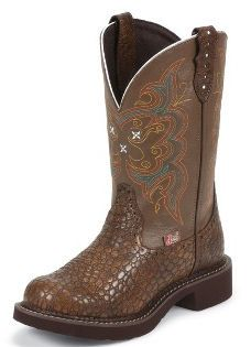 *NEW* Justin Boots Ladies Gypsy Collection Brown Pearl Print Cowhide L9994