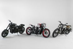 Three Indian Motorcycle Scout Bobber Customs