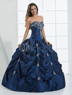 Robe de bal bleu en taffetas avec perle - Milanoo.com