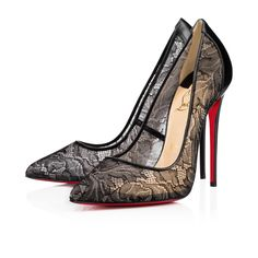 """For the party girl in you, behold """"Follies Lace"""".  Cloaked in gorgeous black leaf-print lace and leather, this feminine 120mm pump is all you need to become an empress of the evening."""