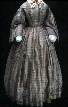 Purple plaid silk day dress, circa 1865. Via Collections Online : mnhs.org