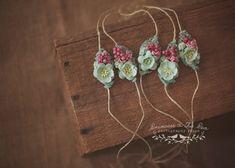 Mint Blush Newborn Tieback Photo Prop, Newborn Tieback, Floral Tieback, Mint Tieback, Mint Headband, Pink Berries, Organic Tieback, Vintage by PrincessPeaProps on Etsy https://www.etsy.com/listing/244772065/mint-blush-newborn-tieback-photo-prop