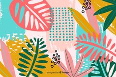 Abstract hand drawn tropical background ... | Free Vector #Freepik #freevector #background #flower #floral #abstract