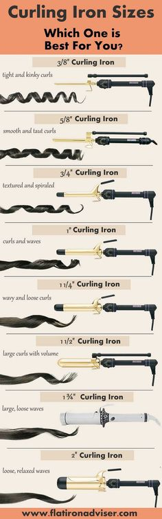 Curling iron sizes guide.