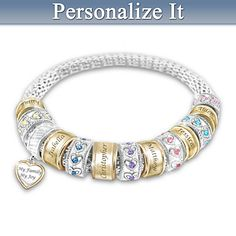 My Family My Joy Personalized Bracelet - up to 6 children's names are engraved on individual charms.  Each child is also represented with a charm that features a row of heart birthstones.