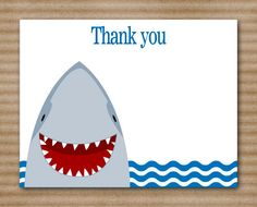 PRINTABLE Shark Thank You Cards Birthday by PaperHouseDesigns