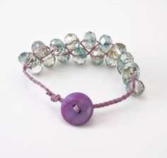 A beautiful bead braided bracelet made with multi-color crystal beads. Made By Haley Wyers :  Available at http://www.veritejewelry.com/