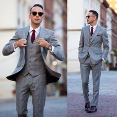 Plaid Three Piece Suit - He Spoke Style Three Piece Suit, 3 Piece Suits, Style Dandy, Men's Style, Style Gentleman, Grey Check Suit, Grey Suit Wedding, Wedding Men, Dream Wedding