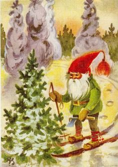 This painting is an excellent illustration of one family's attempt to introduce a change in the Gnome G-red G-cap. They worked hard to spin and dye and brush the wool into a well-done coif-tassel. But people wanted to buy the axe instead. Swedish Christmas, Scandinavian Christmas, Vintage Christmas, Christmas Cards, Winter Pictures, Christmas Pictures, David The Gnome, Kobold, Elves And Fairies