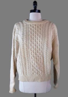 Mens Irish Fisherman Sweater L 100% Wool Beige Cable Knit Aran Christopher Hayes #ChristopherHayes #Crewneck