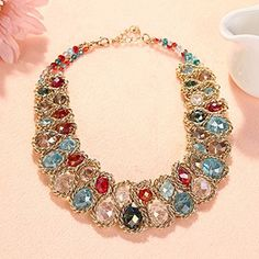 Bao Style Nightclubs Crystal Diamond Gemstone A series of 8 Necklace http://www.keeplookingbusy.com/itemDetails.aspx?id=B01730GYOA
