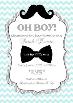 Top 16 Cute Boy Baby Shower Invitations for your inspiration. Getting a great idea for a cute boy baby shower invitations in some cases becomes so complicated. There are plenty of variants of baby shower invitation on this… Mustache Invitations, Custom Baby Shower Invitations, Baby Shower Invitation Templates, Baby Shower Invitations For Boys, Invitation Design, Printable Invitations, Invite, Invitation Ideas, Digital Invitations