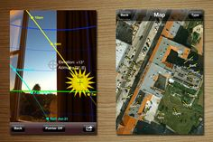 A useful tool for photographers, gardeners, or house hunters, Sun Seeker shows you an augmented reality view (as well as a flat-view compass) of the solar path, the sun's hourly intervals, and its rise and set times. In the AR view you can also see the sun's current position and its path in the sky, while the map view shows solar direction arrows and elevations for each hour of the day.