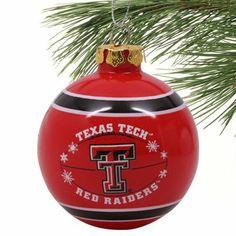 Texas Tech Red Raiders Ribbon Flocked Glass Ball Ornament
