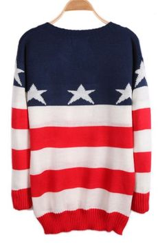Red White Blue Striped Long Sleeve Stars Print Sweater