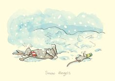 """""""Snow Angels"""" by Anita Jeram Art And Illustration, Detailed Drawings, Cute Drawings, Anita Jeram, Bunny Art, Snow Angels, Penny Black, Christmas Pictures, Cute Animals"""