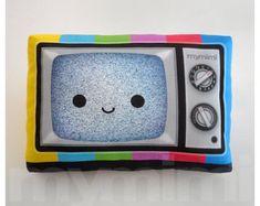 "Decorative Pillow, TV Pillow, Vintage Television, Retro, 80's, Rainbow, Geekery, Cushion, Kawaii, Room Decor, Dorm, Movie Night Toys, 9 x 6"""