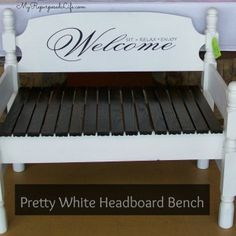 Bench tutorial - My Repurposed Life® Rescue Re-imagine Repeat - Edited July 2011 I have a new way to attach the sides to the headboard. You can see my latest Bench - Headboard With Shelves, Headboard Benches, White Twin Headboard, White Bedding, Gondola Shelving, Old Wooden Chairs, Plastic Shelves, Corner Bench, Diy Bed Frame