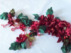 dekoracja ,kwiaty z materiałów