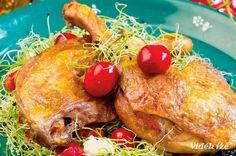 Kacsacomb cseresznyés, feta sajtos salátával  szerda  ebéd  750 Kcal Feta, Chicken, Cubs