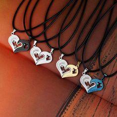 LNRRABC Moda 1 Unidades Unisex Mujer Hombre Te Amo en Forma de Corazón Colgante de Collar Para Los Amantes Parejas Regalo de La Joyería