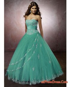 Beautiful Ball Gowns | Prom Dress => Beautiful quinceanera Gowns =>Strapless teal ball gown ...