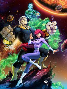 Galaxy Trio by on DeviantArt Classic Cartoon Characters, Superhero Characters, Cartoon Tv, Classic Cartoons, Comics Und Cartoons, Old School Cartoons, Comic Books Art, Comic Art, Marvel Dc