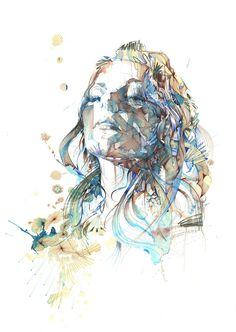 Carne Griffiths' fascination with drawing focuses on the creation and manipulation of the draw line. The artist primarily works with calligraphy inks, graphite and liquids, such as brandy, vodka and tea, creating dreamlike imagery.