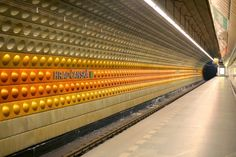 Let's make a movie using this Prague metro station as one of the actors. Fill it with unique people and turn on the camera. Subway Map, Subway Tile, Cob House Plans, Rapid Transit, U Bahn, Metro Station, Train Station, Signage, Around The Worlds