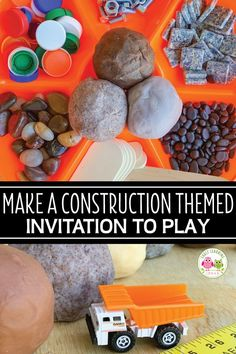 How to Make a Construction Themed Playdough Tray Get lots of material ideas for your construction themed playdough tray for. Construction Theme Preschool, Construction Birthday Parties, Preschool Themes, Preschool Science, Preschool Lessons, Preschool Learning, Kindergarten Lesson Plans, Creative Curriculum, Tot School
