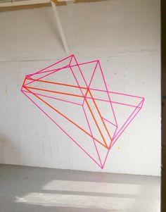 Washi tape art on wall Tape Art, Tape Wall Art, Washi Tape Wall, Diy Wall Art, Masking Tape, Flur Design, Wall Design, Diy Wand, Mur Diy
