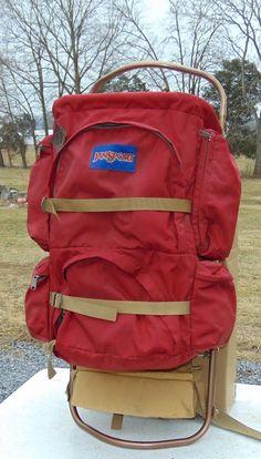Vintage K2 Jansport Red Leather External Frame Backpack #Jansport