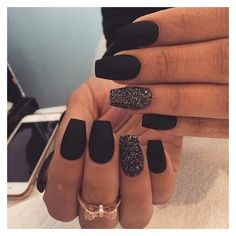 Cool black matte nails ❤ liked on Polyvore featuring beauty products and nail care