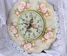 """Купить Часики """"Нежность розы"""" - мятный, часы, часы настенные, часы интерьерные, часы декупаж"""