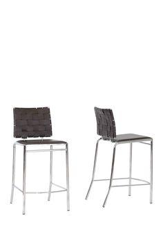 Vittoria Brown Leather Modern Counter Stool - Set of 2 on @HauteLook