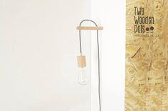 Handmade Wooden Lamp Hook with a Colored Fabric Cable!  The wall holder is a minimalist design made by wood. The fabric cord is 3 metter - long.  About the cable, there are 19 different colors which are in the last picture (click zoom for greater clarity). You can choose the color you