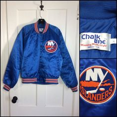 Excited to share the latest addition to my #etsy shop: 1980's New York Islanders hockey team NHL sports Chalk Line quilted bomber Jacket size large blue orange