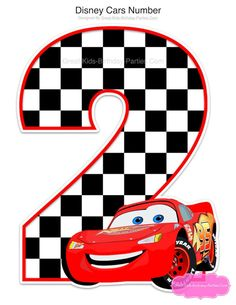 - Disney CARS Centerpiece for Birthday Number 2 only. Lightning McQueen decorations with the number - Car Centerpieces, Birthday Centerpieces, Birthday Party Decorations, Disney Cars Birthday, Cars Birthday Parties, Car Birthday, Disney Cars Cake, Mouse Parties, Lightning Mcqueen