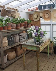 Backyard Greenhouse, Greenhouse Plans, Garden Shed Interiors, Garden Sheds, Dream Garden, Home And Garden, Shed Makeover, Potting Sheds, Potting Benches