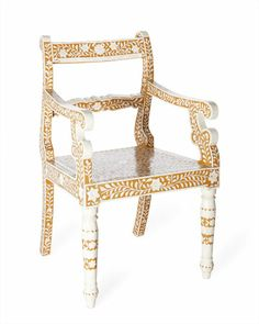 Because of the bone inlay chair's compact size, it would be an ideal way to add a touch of India to an urban apartment.