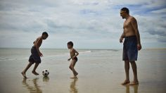 Brazilian kids play football on the beach of Cumbuco, Ceara... http://www.1502983.talkfusion.com/es/products/