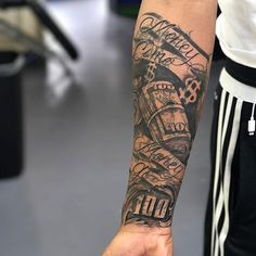 101 Best Money Tattoos For Men: Cool Designs + Ideas Guide) Badass Forearm Money Tattoos – Best Money Tattoos: Cool Money Bag, Dollar Sign, Cash Stack, and Monopoly Man Money Tattoo Designs and Ideas Forarm Tattoos, Forearm Sleeve Tattoos, Dope Tattoos, Best Sleeve Tattoos, Inner Forearm Tattoo, Forearm Tattoos For Men, Forearm Tattoo Quotes, Tattos, Cross Tattoos For Women