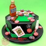 We created this poker table cake with airport size bottle of liquor, cigar, chips and cards for an avid poker player's birthday this past weekend. Inside t