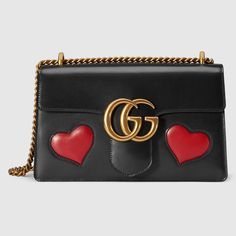 GG Marmont Medium Heart Shoulder Bag, Black/Multi by Gucci at Neiman Marcus. Gucci Shoulder Bag, Chain Shoulder Bag, Shoulder Handbags, Leather Shoulder Bag, Shoulder Bags, Gucci Purses, Chanel Handbags, Designer Handbags, Designer Bags