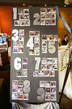 "Seating charts aren't just for large weddings. Even if you have a smaller guest list, people still need to know where to sit!  Place photos in Polaroid paper ""frames"" and assemble your own chart. @myweddingdotcom"