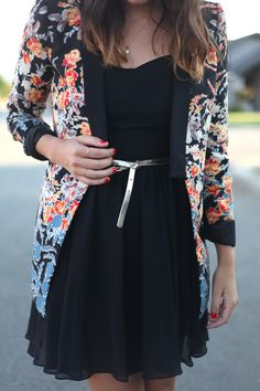 The blazer and black make this look polished and strong, while the flowiness of the dress adds a bit of femininity and flirtiness!