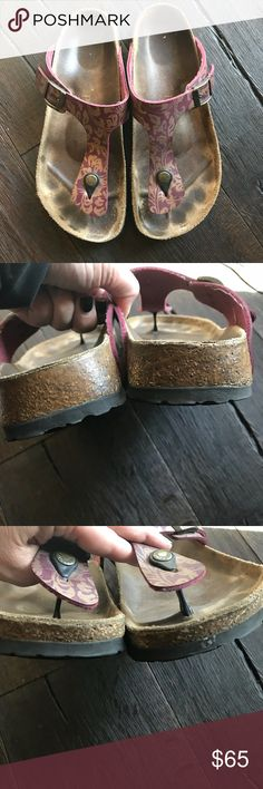 BIRKENSTOCK PAPILLIO GIZEH size 9 PRELOVED.  Some very minor scuffs and very minor crack see pics.  These are gorgeous.  Gold and burgundy are the perfect color combo.   These really are beautiful.  A must have for your Birk collection.  BUNDLE AND SAVE 🤗🤗🤗 Birkenstock Shoes Sandals